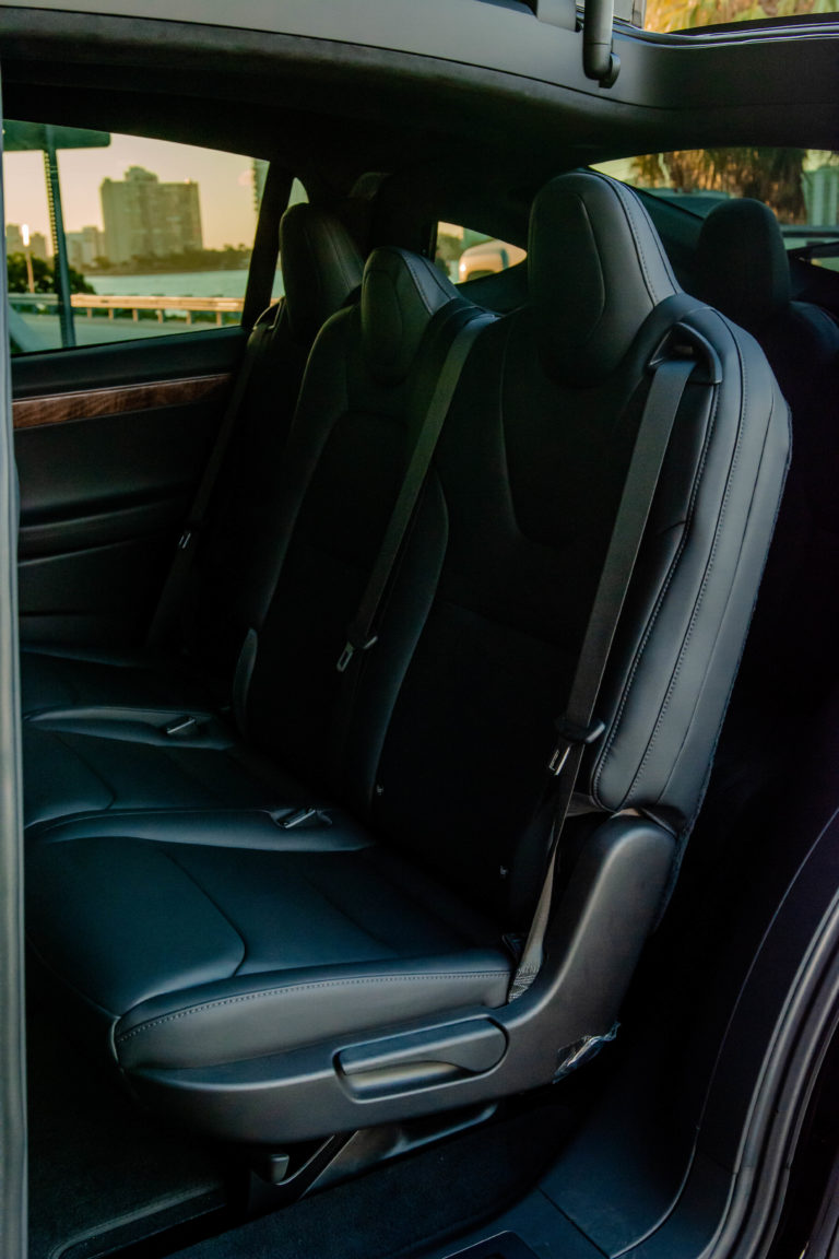Tesla Model X rear seats in leather @ Luxury Travel Transportation