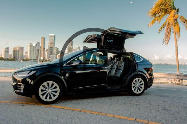 Tesla external view angled with doors open close-up
